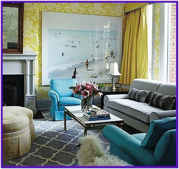 Teal Blue And Yellow Living Room