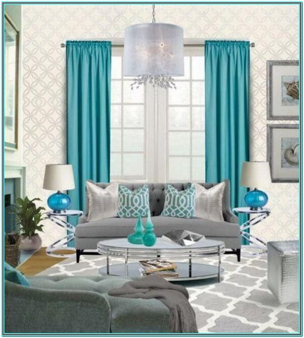 Teal Purple And Grey Living Room