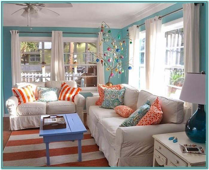 Turquoise And Orange Living Room Accents