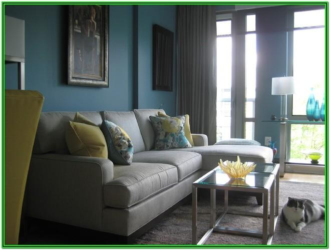 Turquoise Yellow And Gray Living Room
