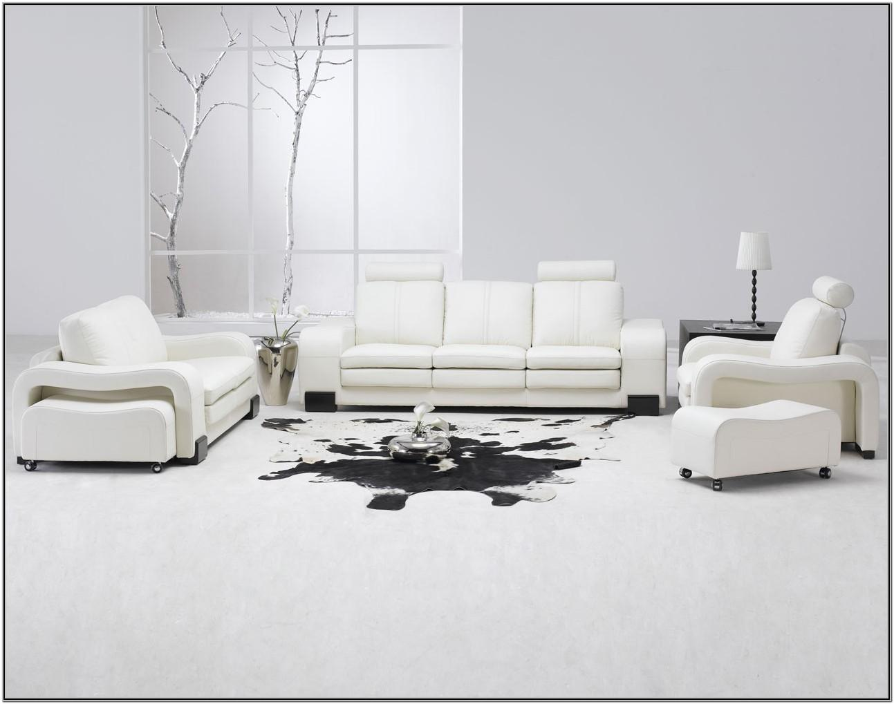 White Leather Living Room Chair