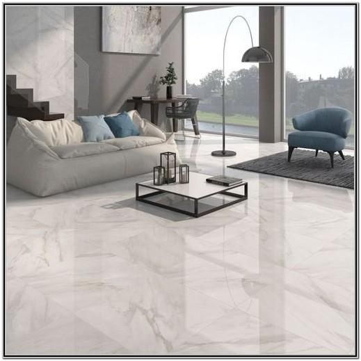 White Tile Living Room Floor