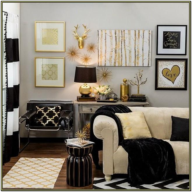 Black And Gold Living Room Accessories