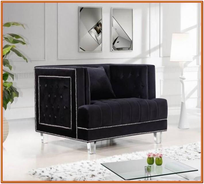 Black Fabric Living Room Set