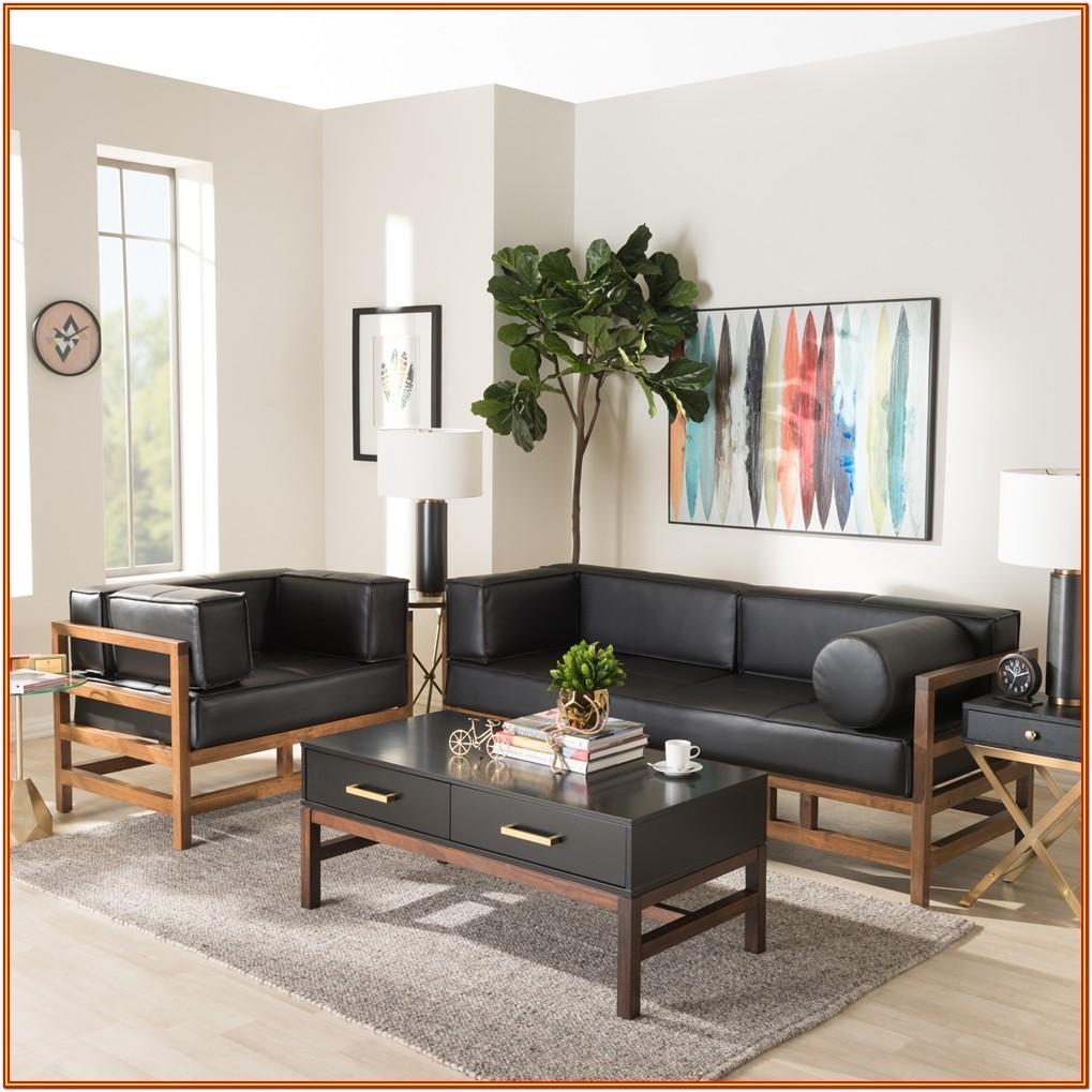 Black Faux Leather Living Room Set