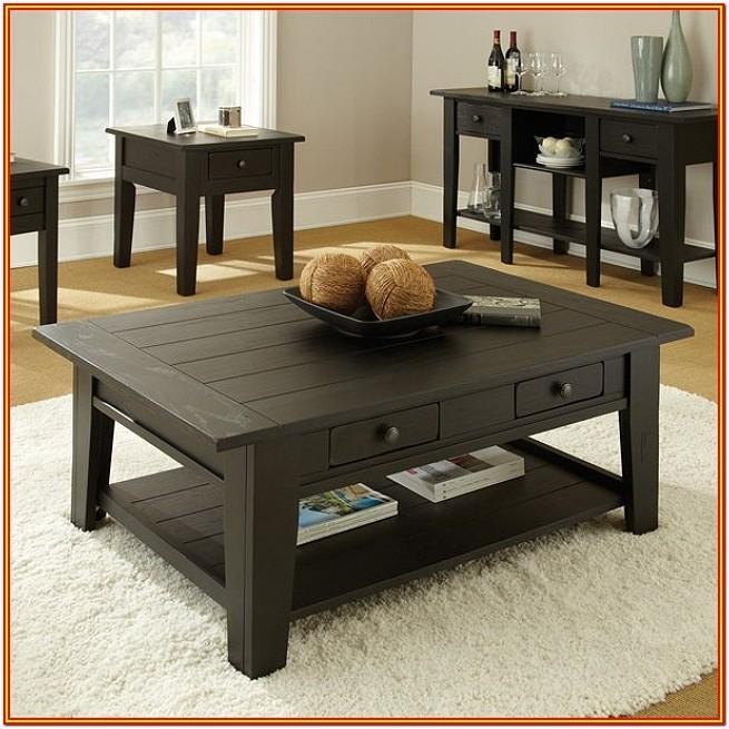 Black Wooden Living Room Table