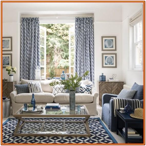 Blue And White Living Room Curtains