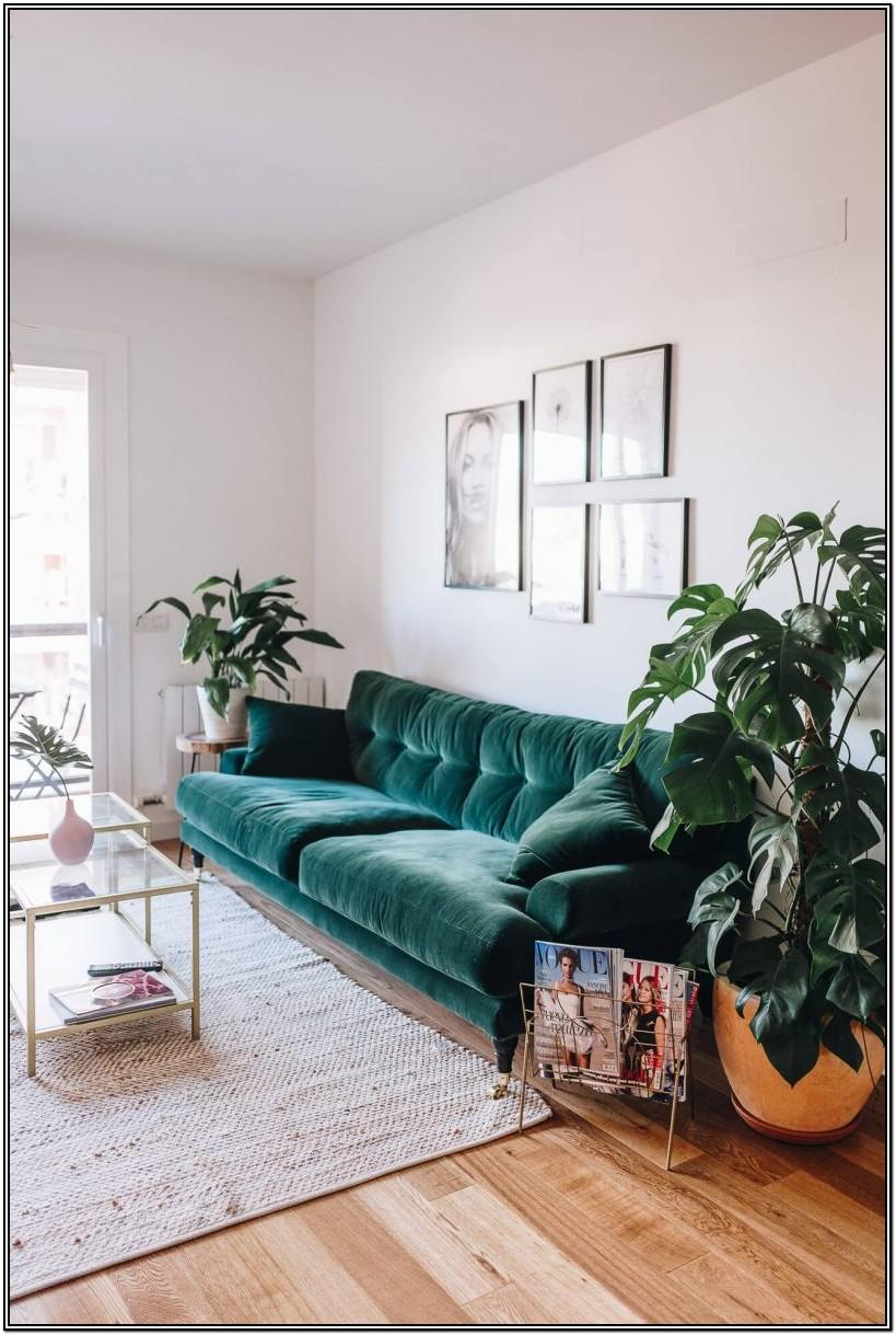Bohemian Green Couch Living Room