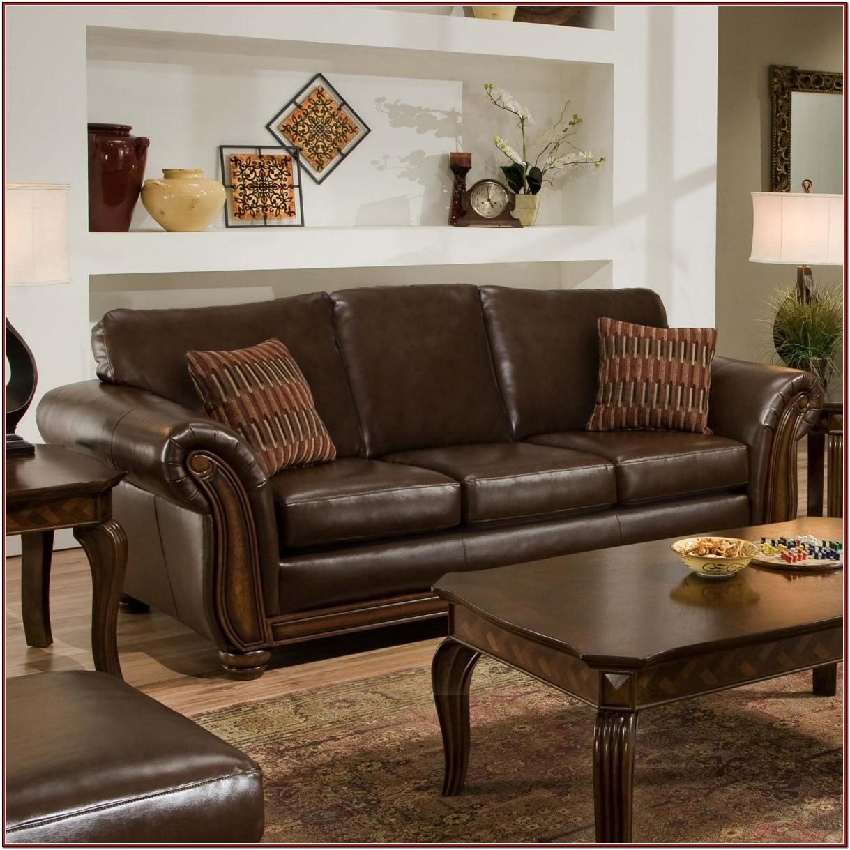 Brown Leather Couch In Living Room