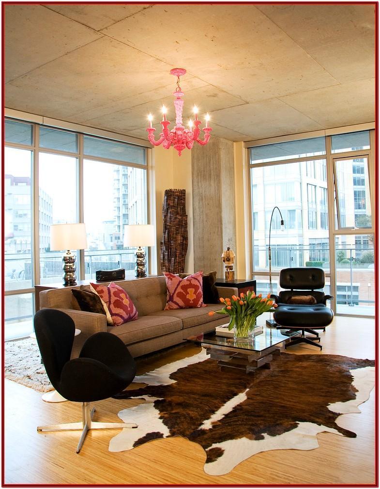 Cowhide Rug In Modern Living Room