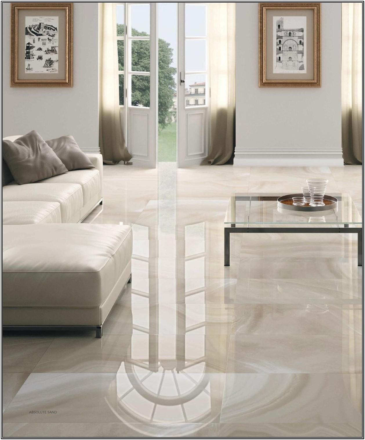 Cream Glossy Tiles For Living Room