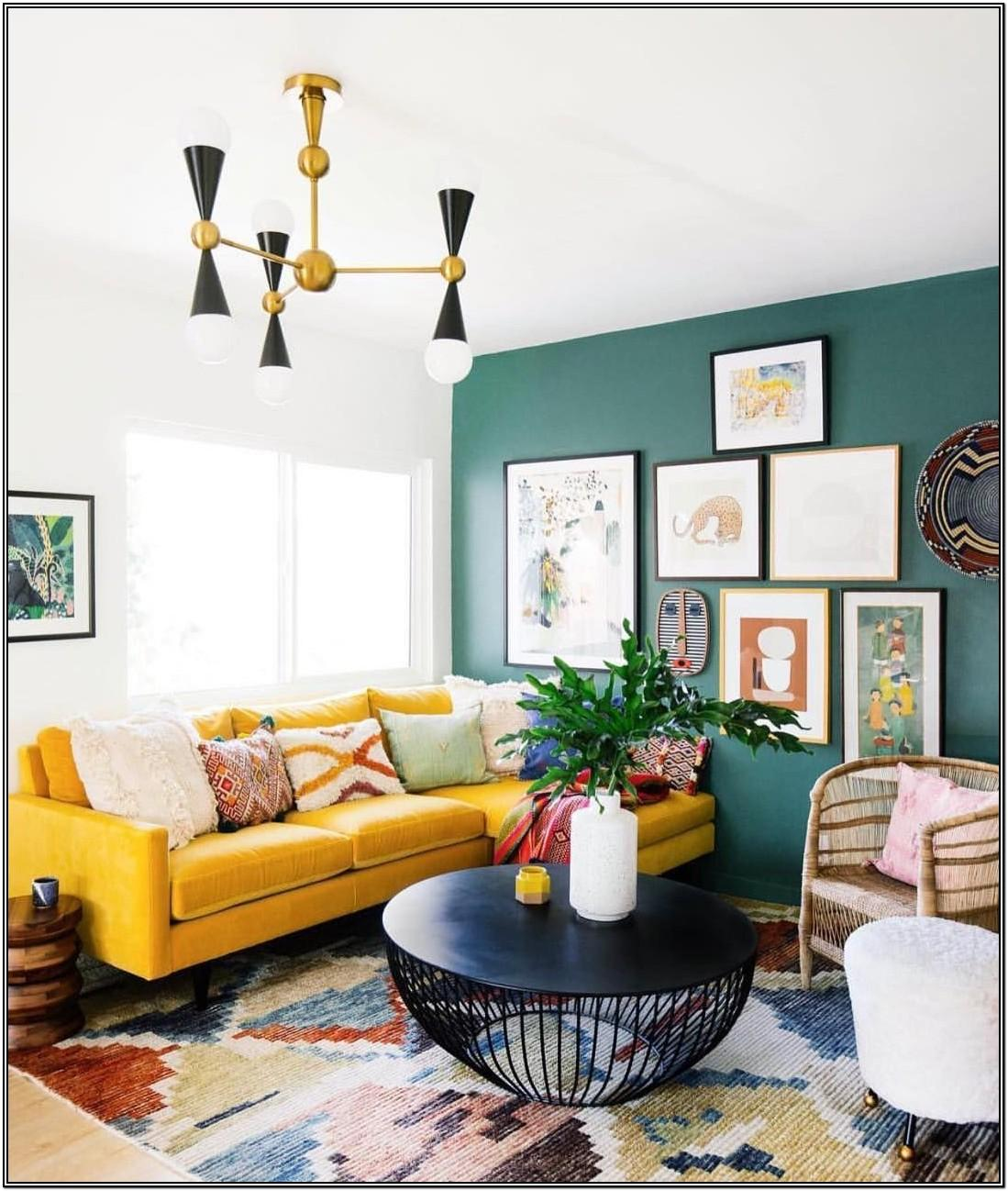 Dark Green Accent Wall Living Room
