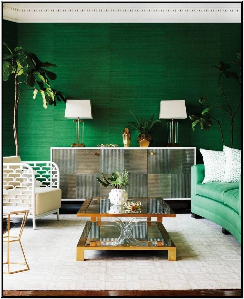 Emerald Green Green Accent Wall Living Room