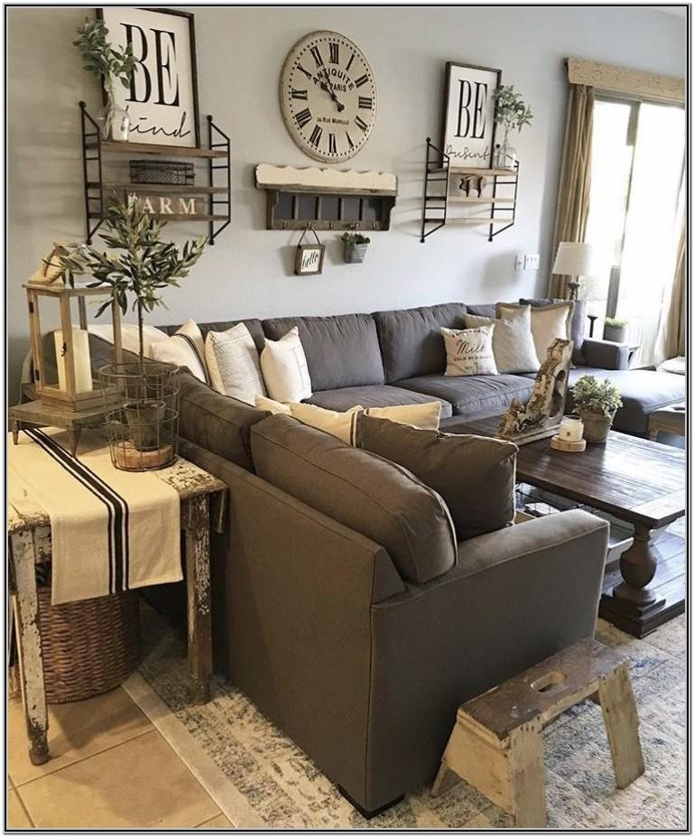 Farmhouse Gray Couch Living Room