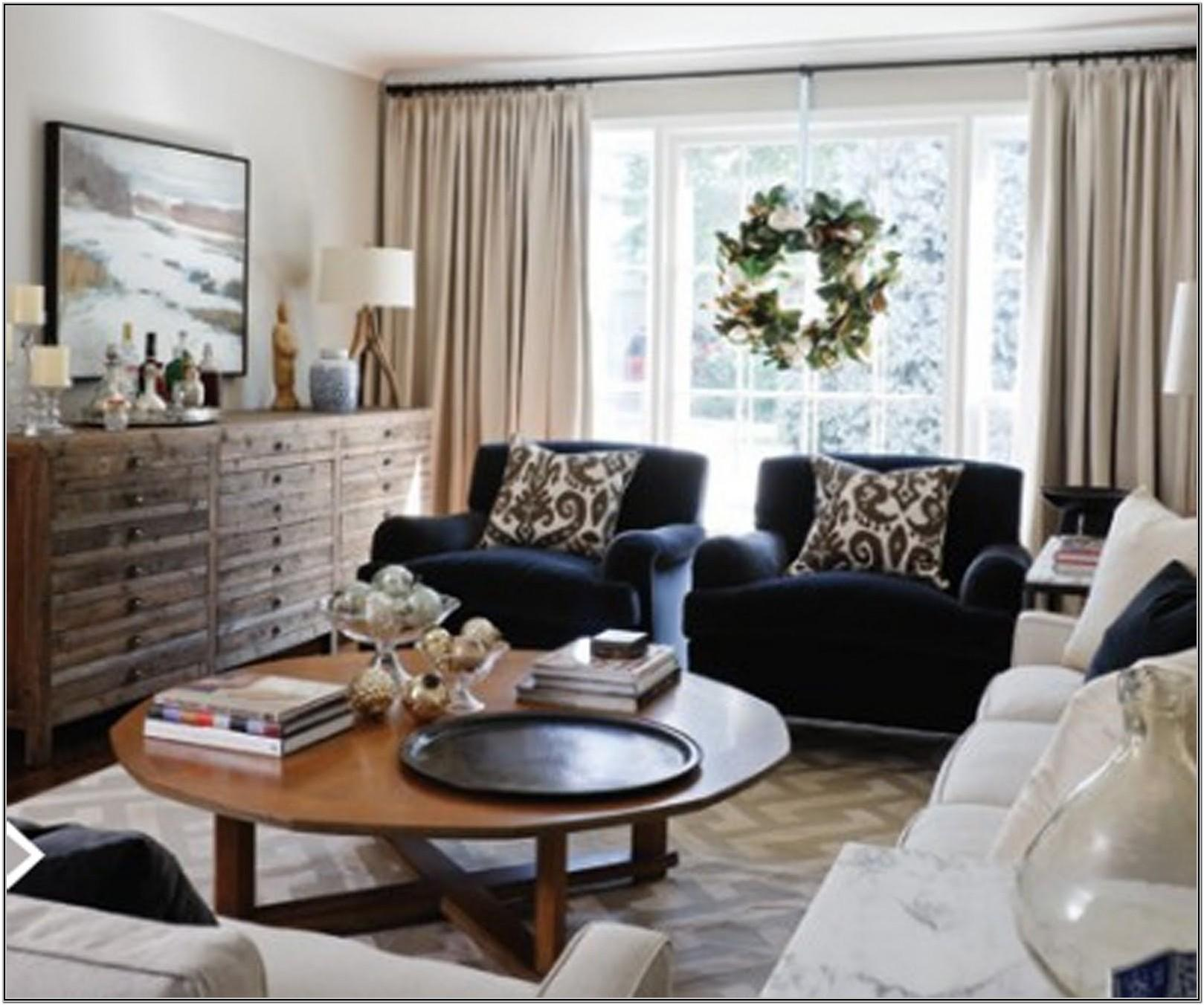 Farmhouse Living Room With Blue Couch