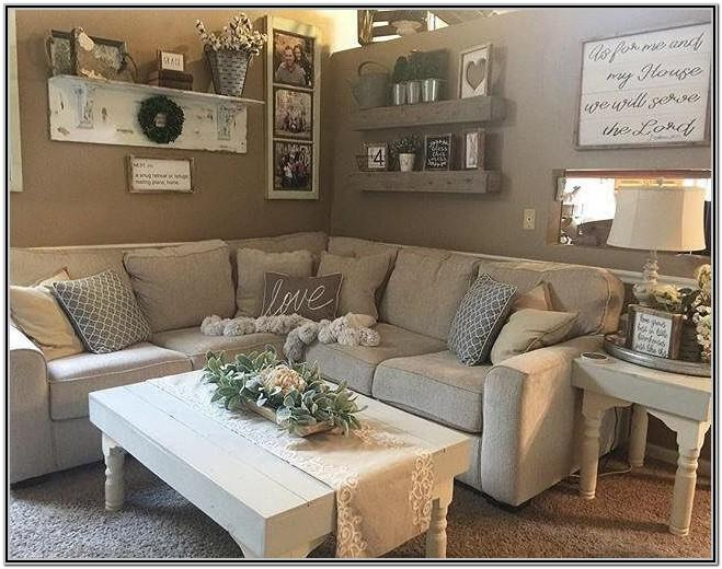Farmhouse Living Room With Brown Sectional
