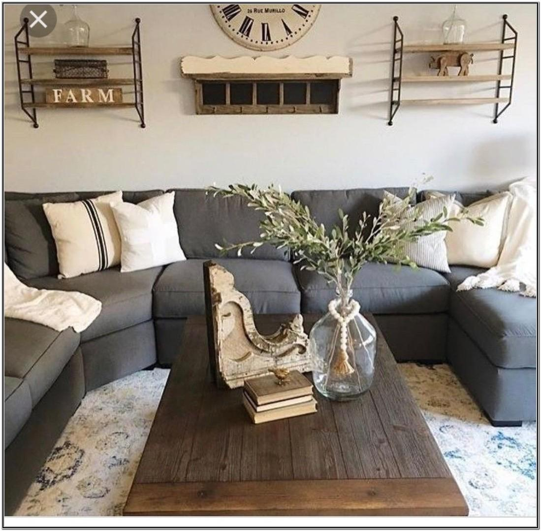 Farmhouse Living Room With Leather Sectional