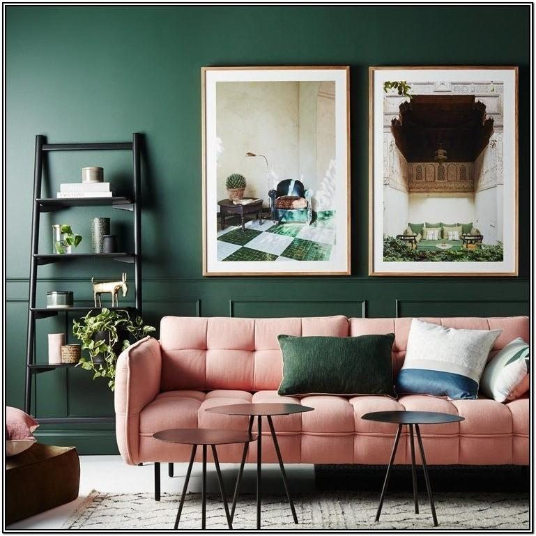 Forest Green Accent Wall Living Room