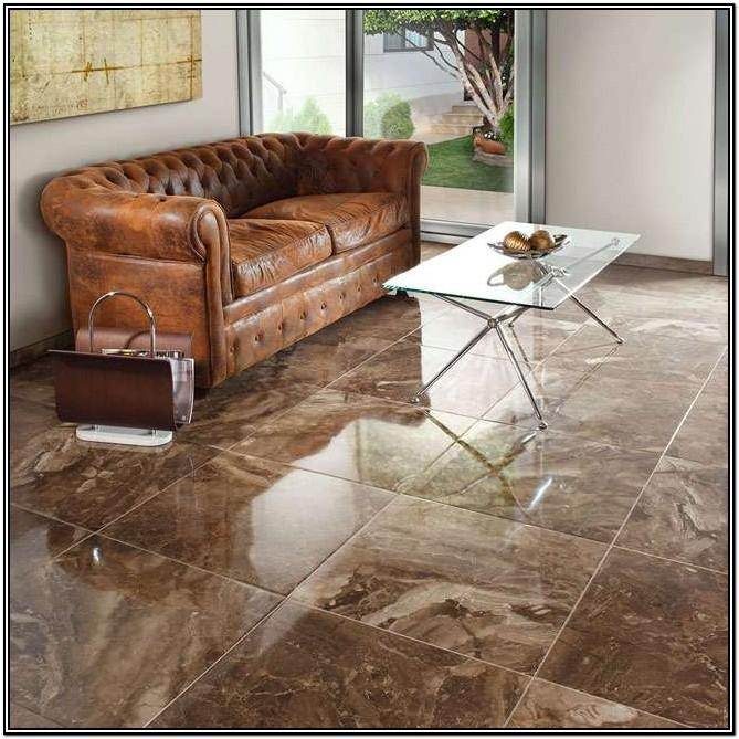 Glossy Brown Tiles For Living Room