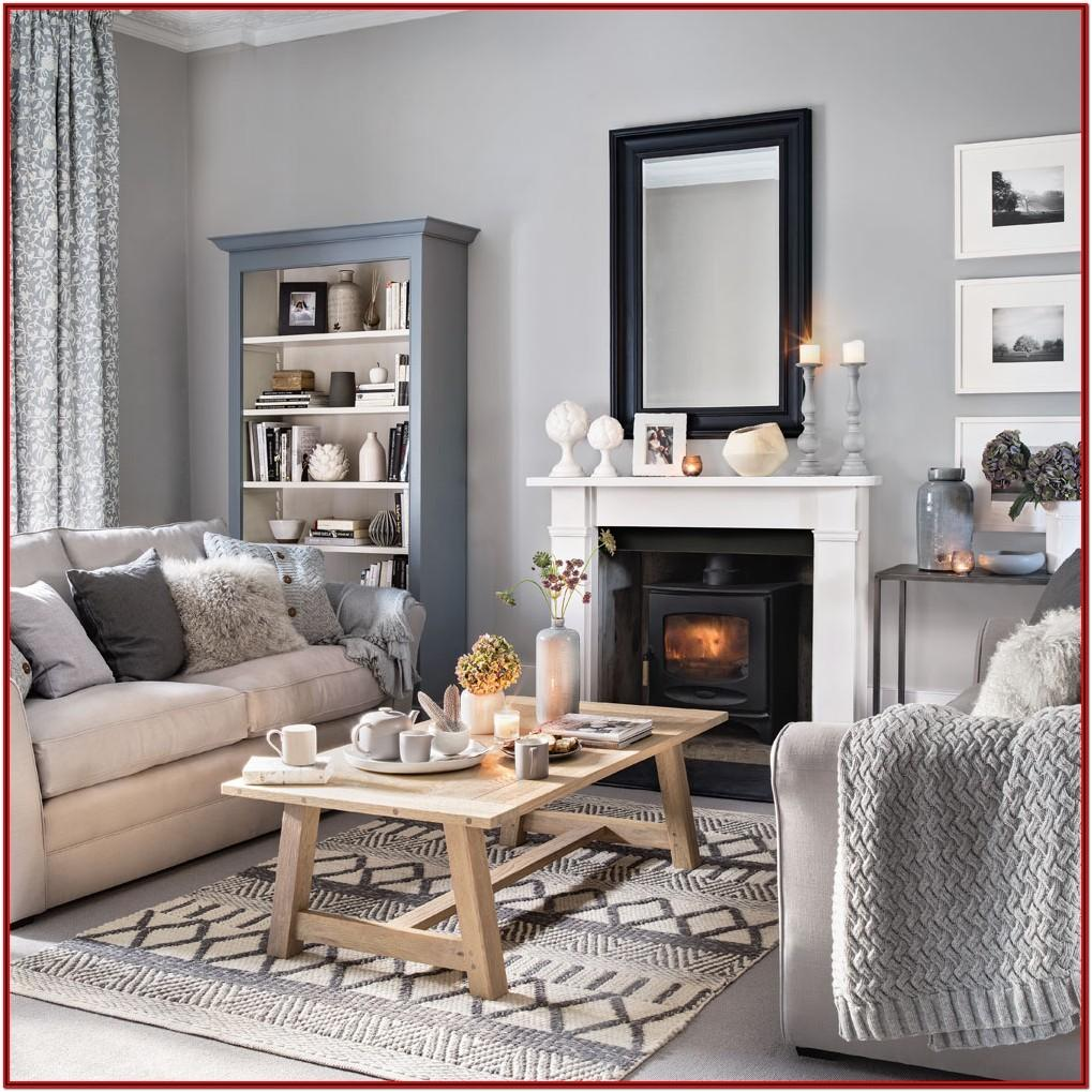 Grey And White Living Room With Brown Furniture
