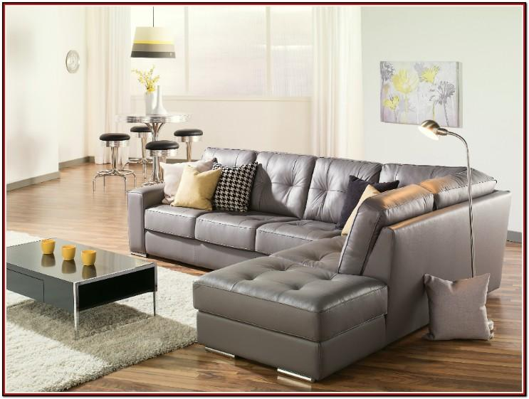 Grey Leather Couch In Living Room