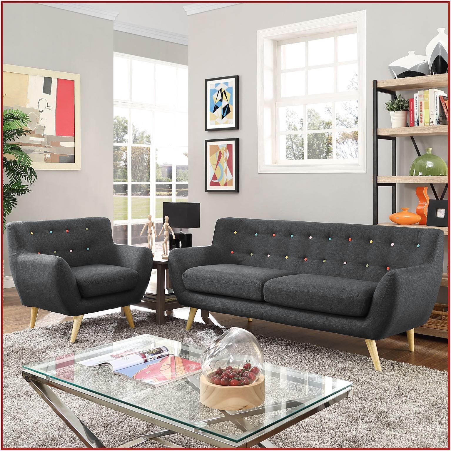 Grey Living Room With Dark Wood Furniture