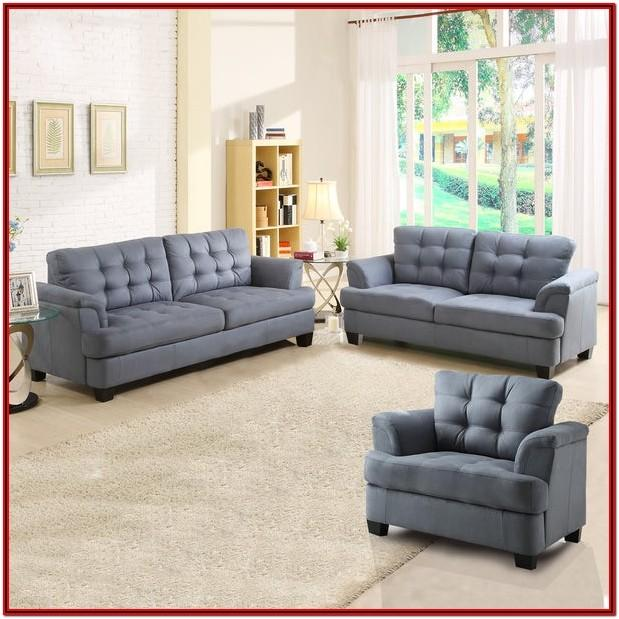 Grey Tufted Living Room Set