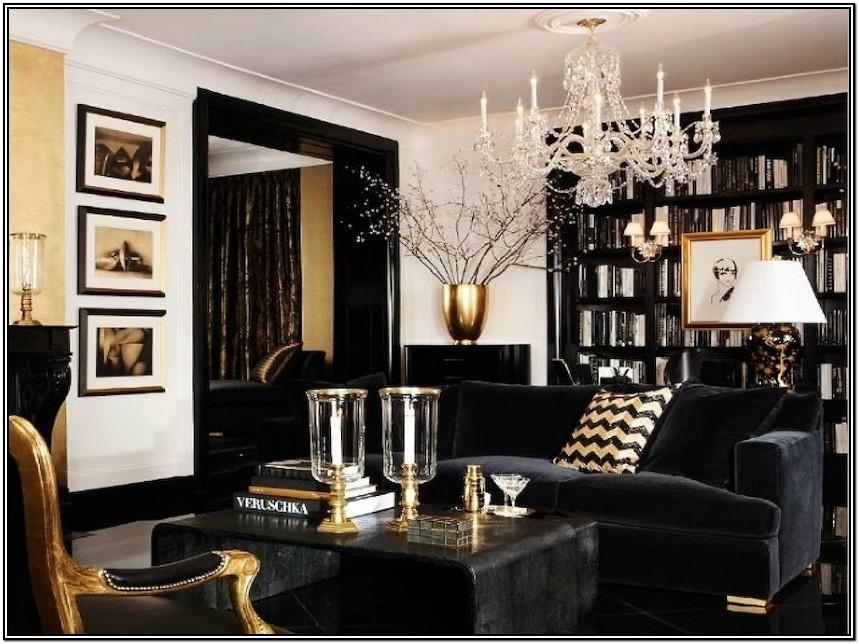Living Room Black And Gold Sofa