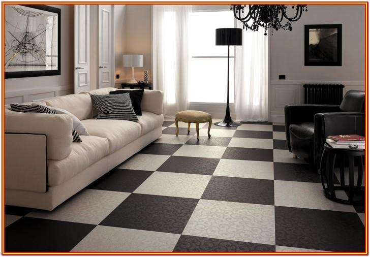 Living Room Black And White Floor Tiles Design