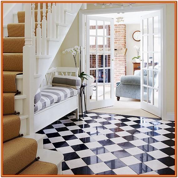 Living Room Black And White Floor Tiles