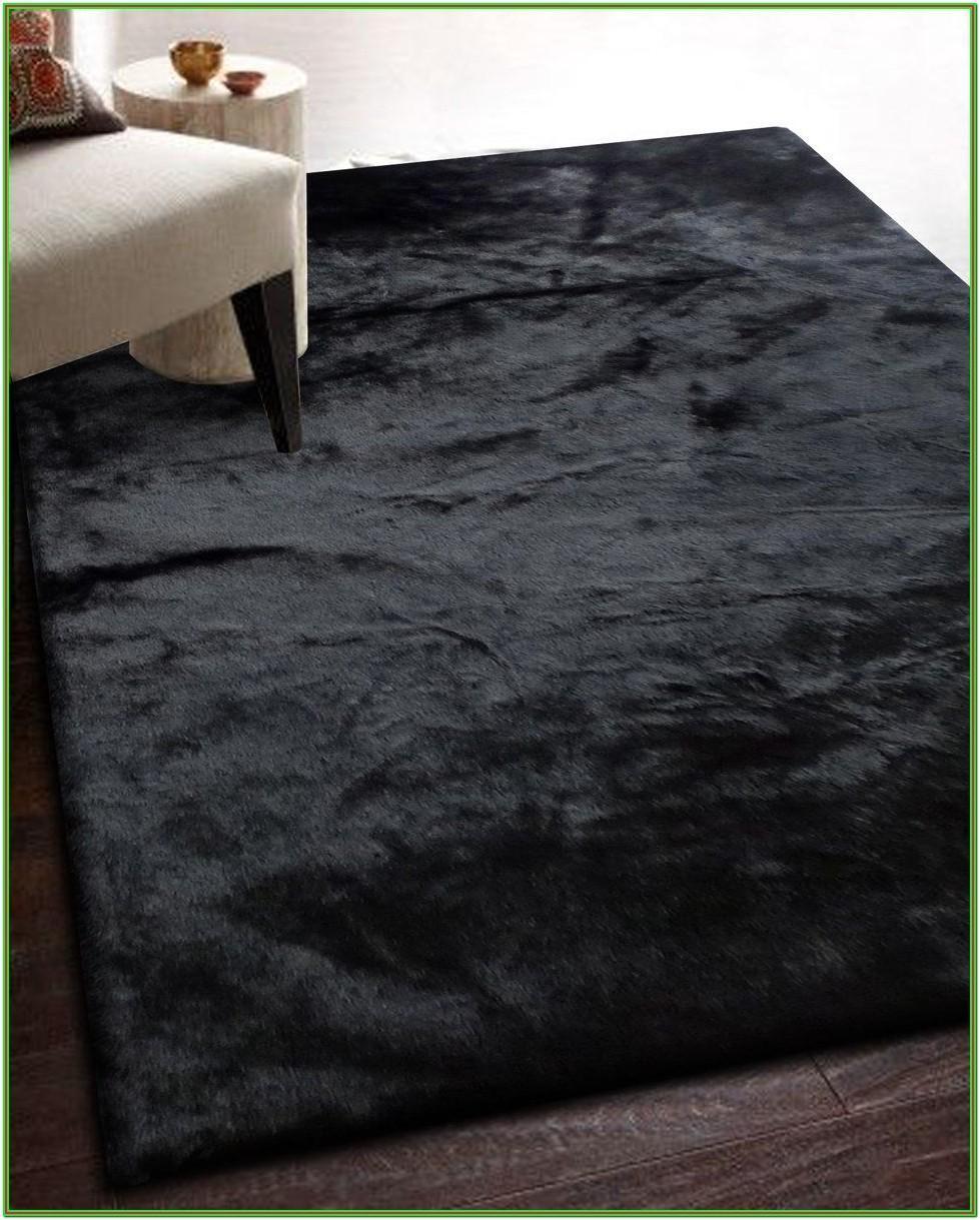 Living Room Black Furry Rug