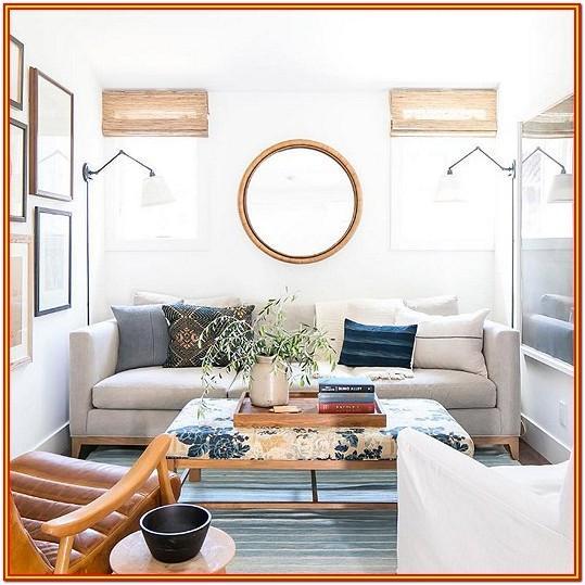 Living Room Black Round Mirror