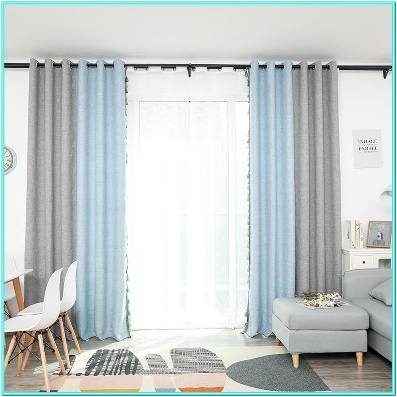 Living Room Blue And Gray Curtains