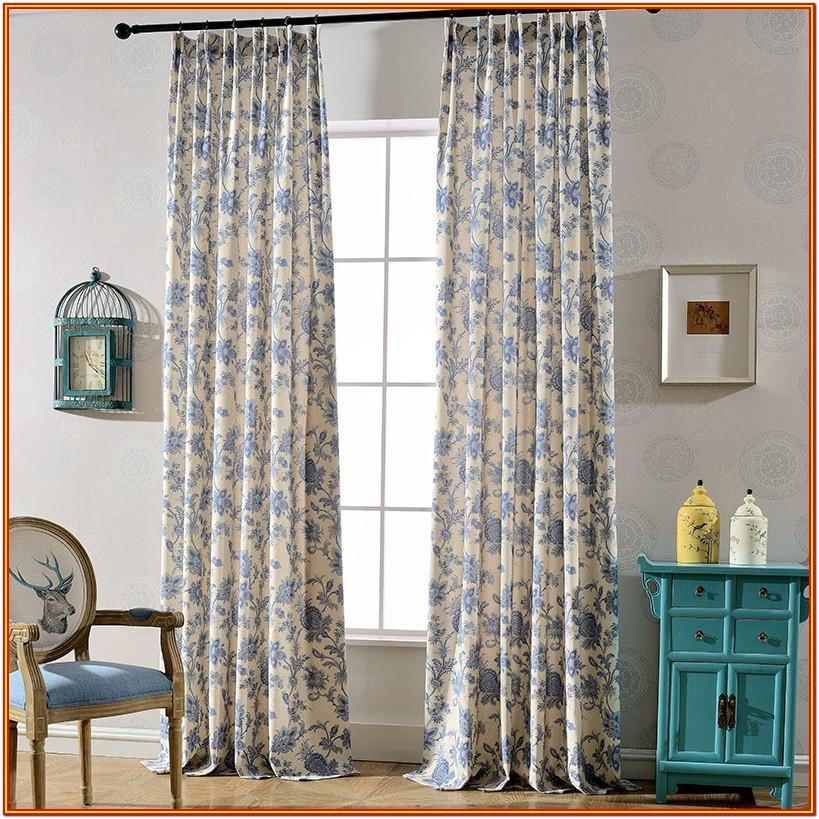 Living Room Blue And White Floral Curtains