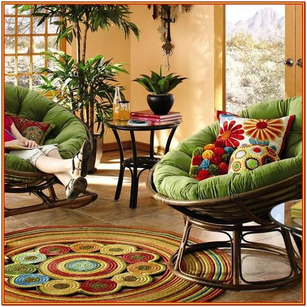 Living Room Boho Living Room Papasan Chair
