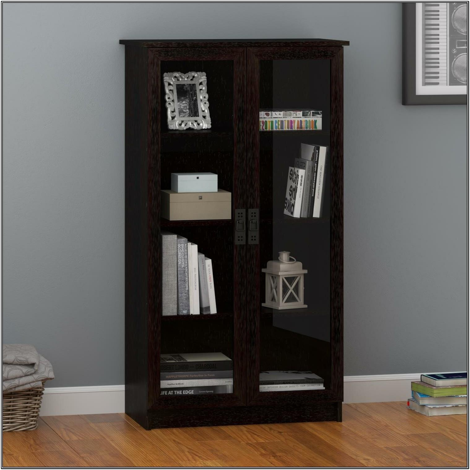 Living Room Bookshelf With Glass Doors