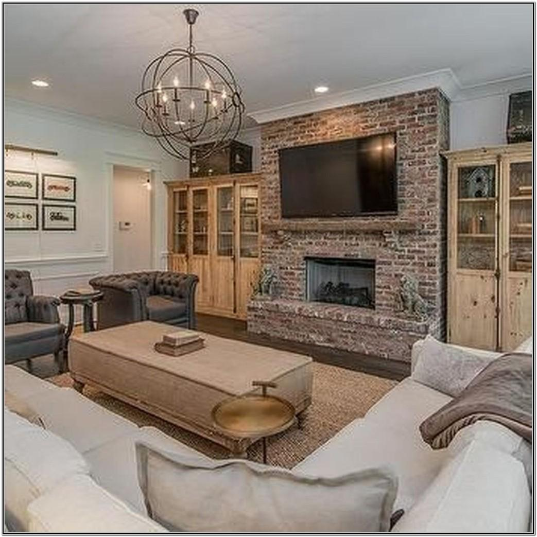 Living Room Brick Fireplace Decor