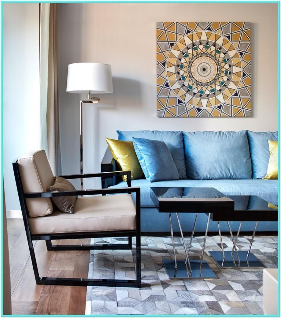 Living Room Design With Blue Sofa