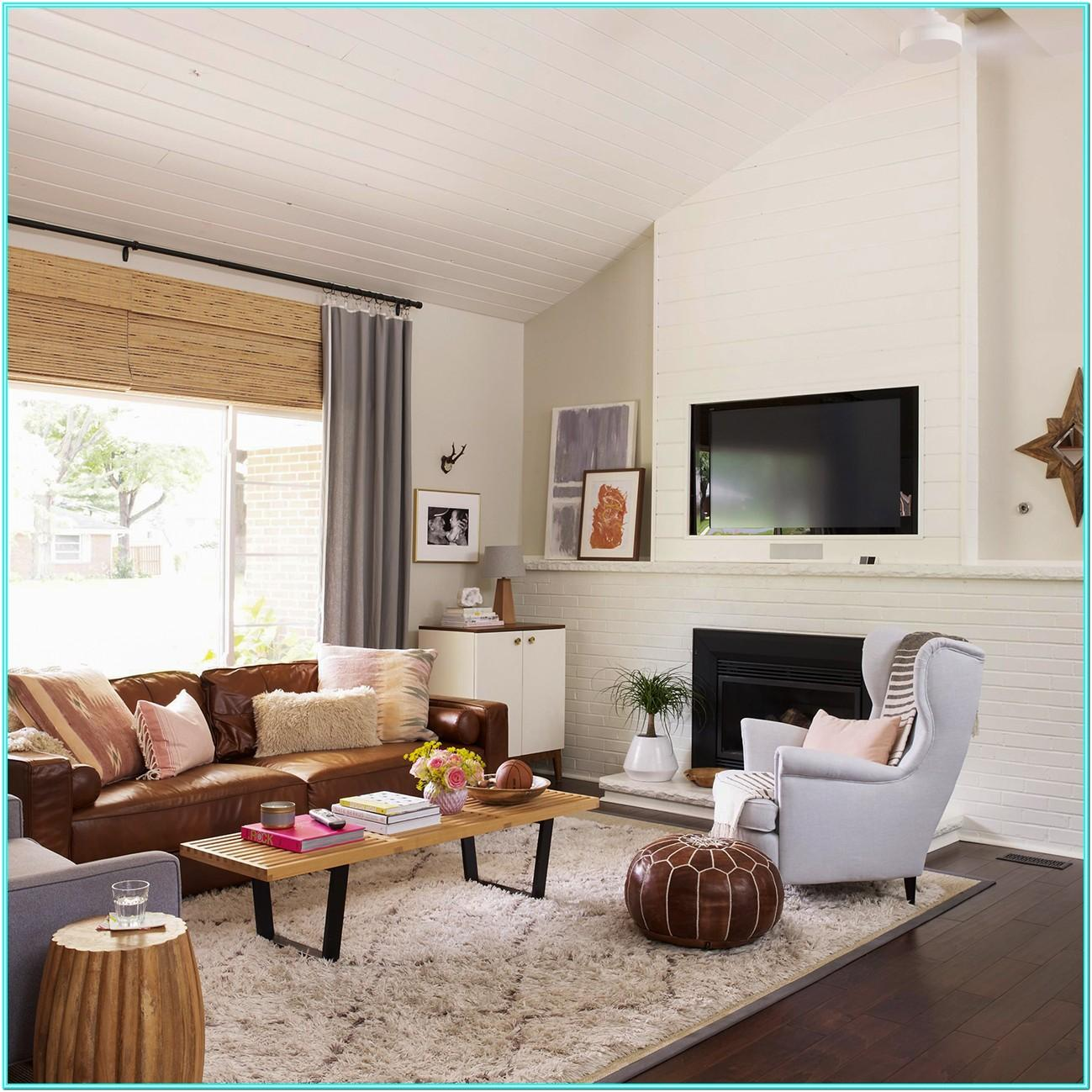 Living Room Design With Brown Leather Sofa