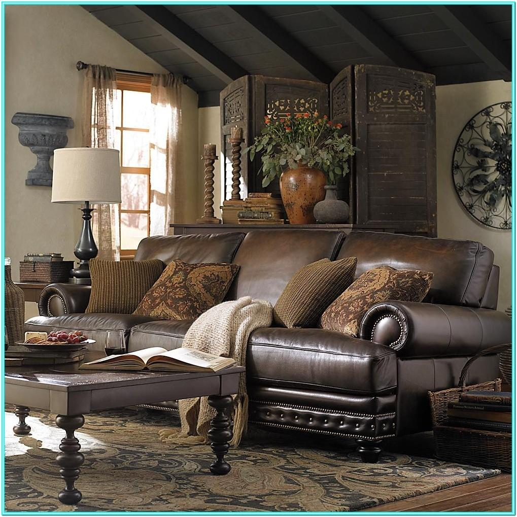 Living Room Design With Dark Brown Leather Sofa