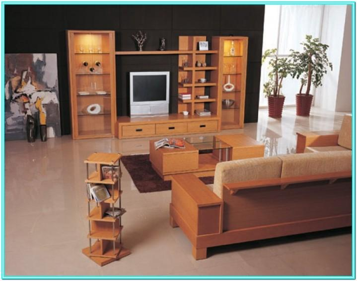 Living Room Design With Wooden Furniture