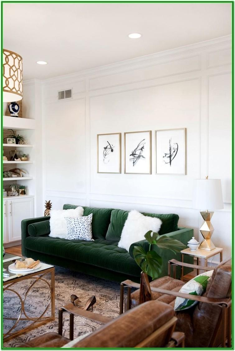 Living Room Emerald Green Velvet Sofa