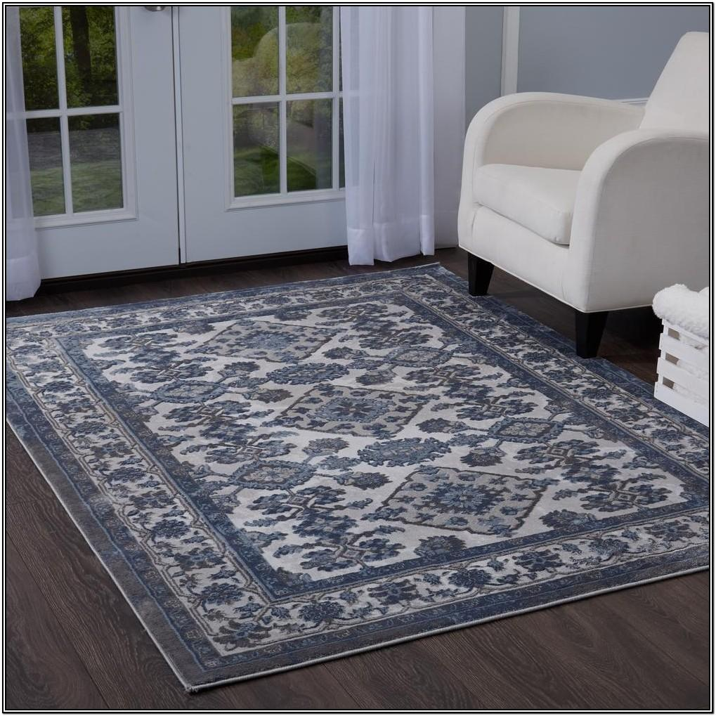 Living Room Gray And Blue Area Rug