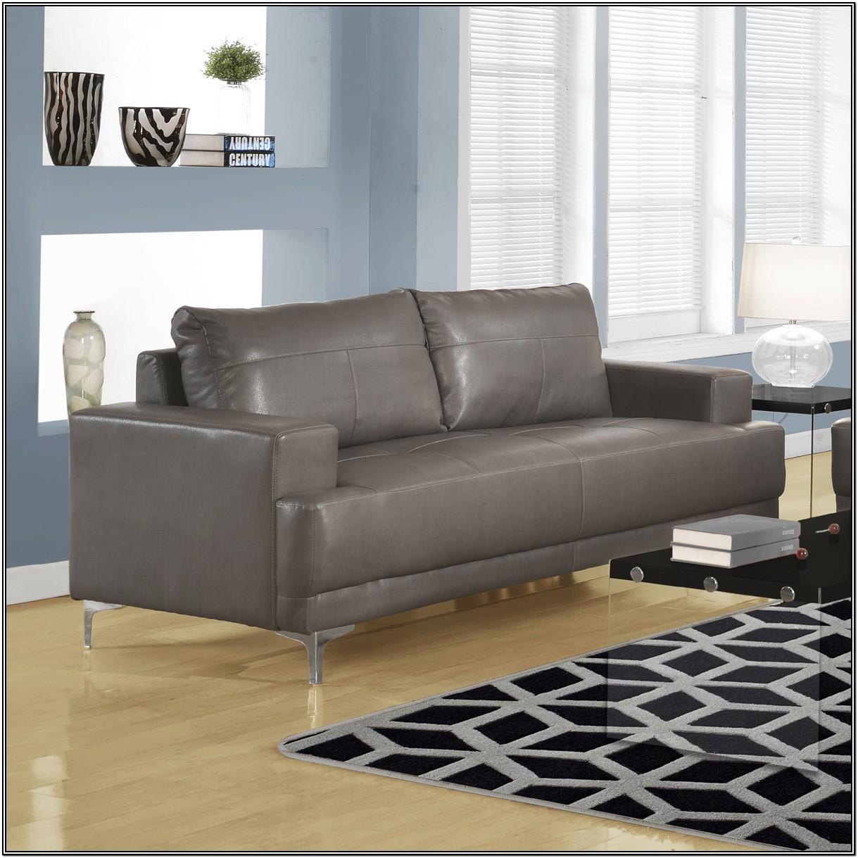 Living Room Gray Leather Sofa