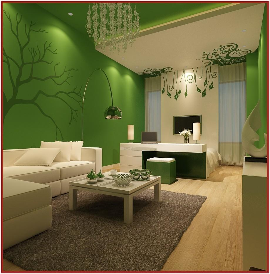 Living Room Green Colour Wall Paint