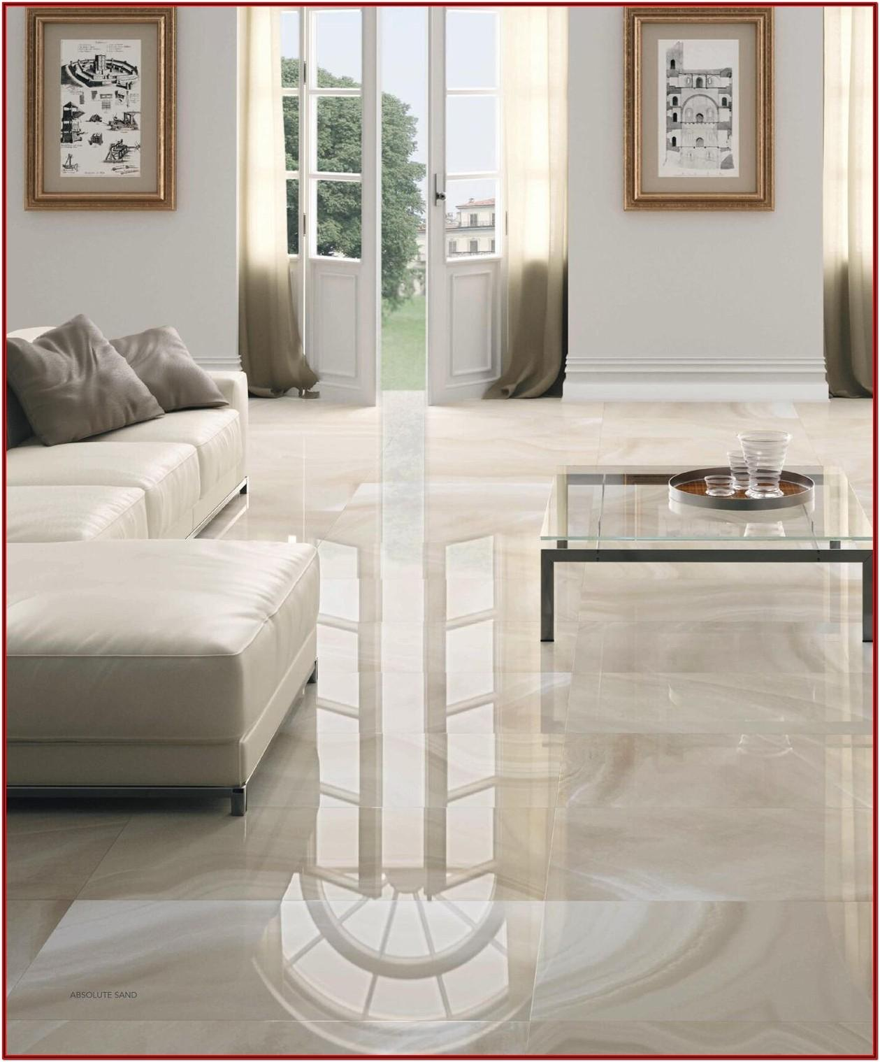 Living Room Grey Gloss Floor Tiles