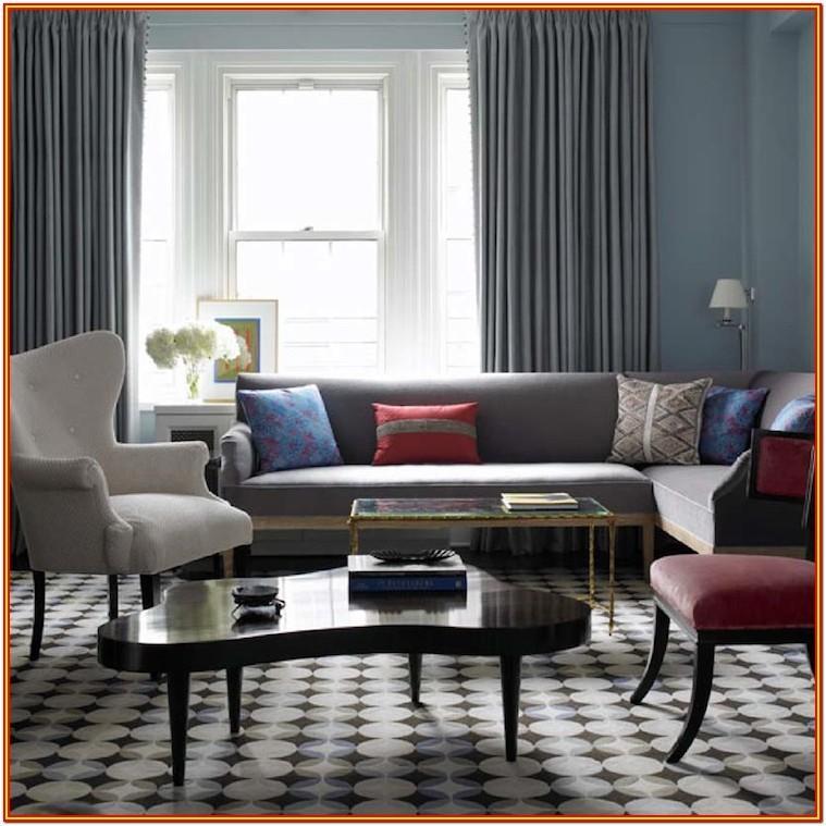 Living Room Grey Sofa Blue Walls