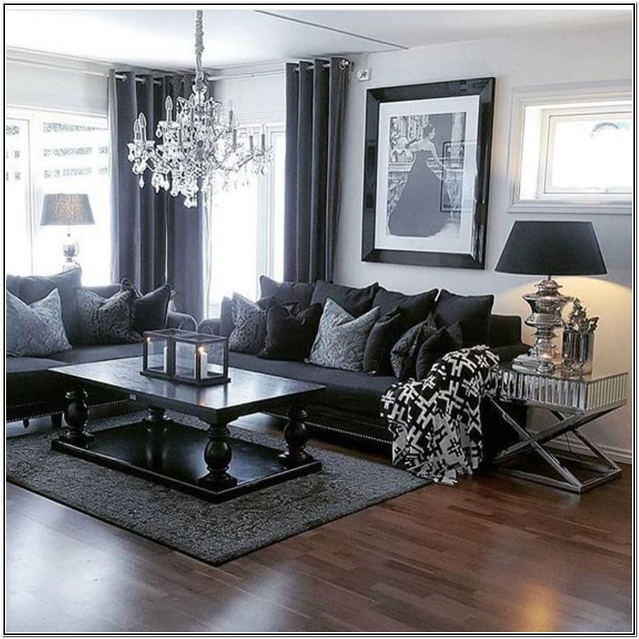 Living Room Grey Walls Dark Furniture