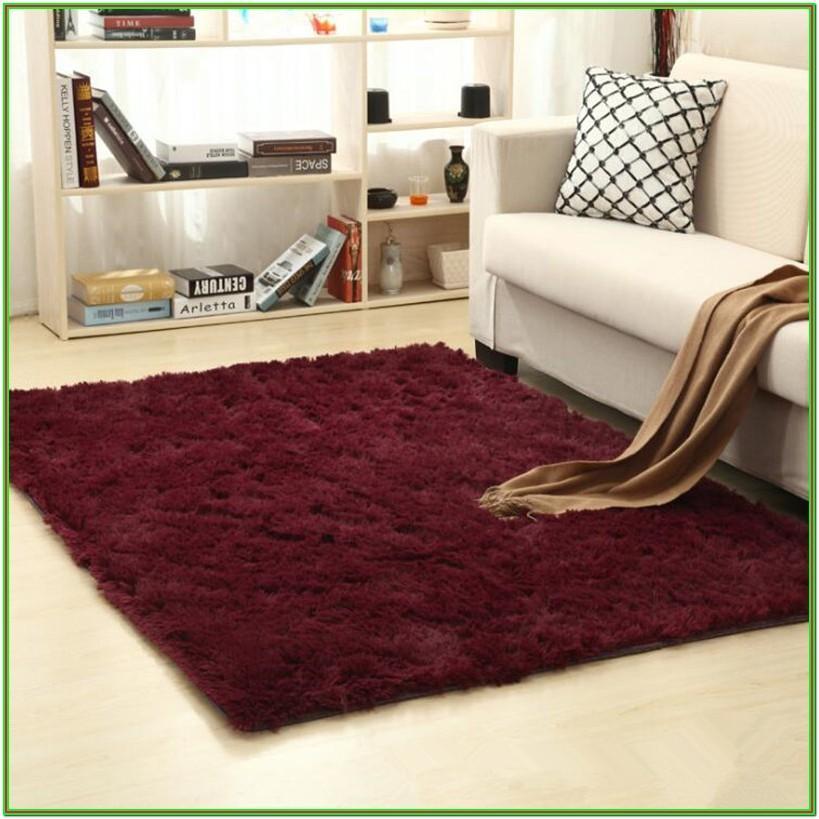 Living Room Red Faux Fur Rug