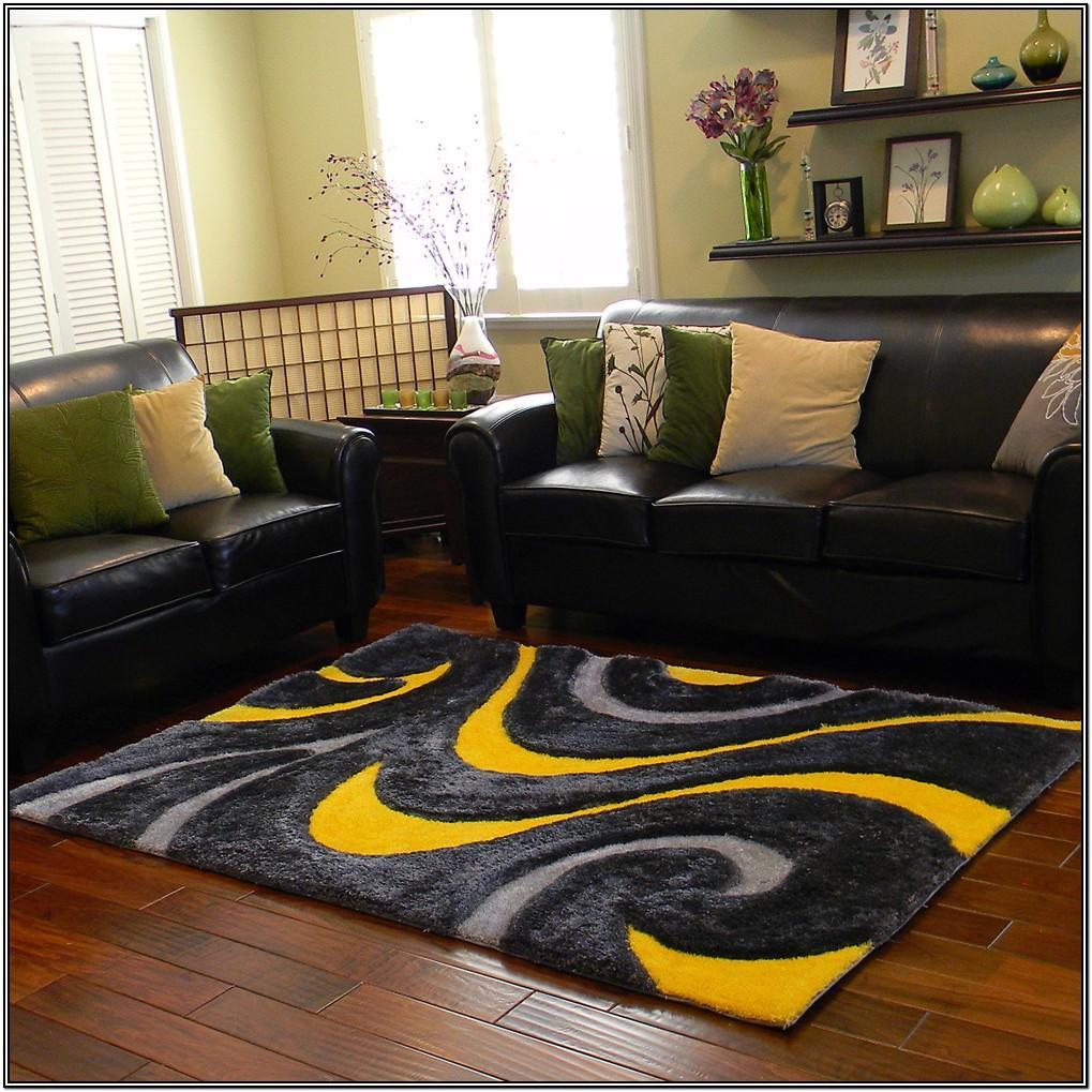 Living Room Yellow And Gray Area Rug